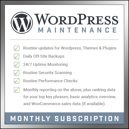 WordPress Maintenance - Monthly Subscription